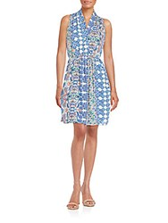 Collective Concepts Printed Wrap Dress Blue Multi