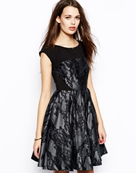 French Connection Milly Prom Dress With Lace Print Ironmanprintblack