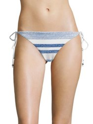 Shoshanna Striped Clean String Bikini Bottom White Cobalt