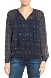 Lucky Brand Ikat Print Peasant Blouse Blue