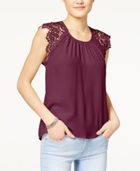 Miss Chievous Juniors' Crochet Sleeve Top Pinot Noir
