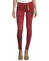 Robin's Jeans Marilyn Distressed Skinny W Patches Red