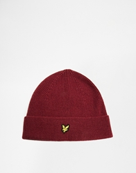 Lyle And Scott Ribbed Beanie Maroon