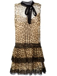 Red Valentino Leopard Print Flared Dress Black