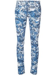 Off White Printed Skinny Jeans Blue