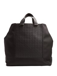 Bottega Veneta Hi Tech Canvas And Leather Tote Black