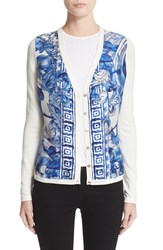 Versace Women's Leaf Print Silk And Cotton Cardigan