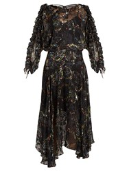 Preen Ermin Flower Print Satin Devore Silk Dress Black Multi