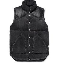 Rocky Mountain Featherbed Leather Trimmed Washed Cotton Blend Corduroy Down Gilet Black