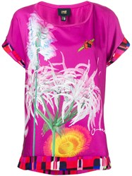 Class Roberto Cavalli Printed Short Sleeved Blouse Pink