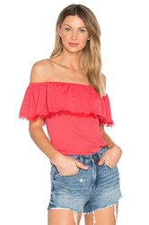 Splendid Off Shoulder Ruffle Top Red
