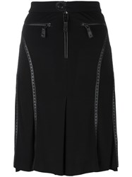 Jean Paul Gaultier Vintage Perforated Leather Effect Trim Skirt Black