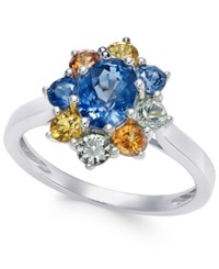 Macy's Multi Sapphire Floral Ring 2 Ct. T.W. In 14K White Gold