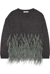 Elizabeth And James Feather Trimmed Cotton Blend Sweater Charcoal