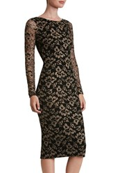 Dress The Population Women's Emery Lace Body Con Midi Black Gold