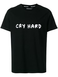 House Of Holland Cry Hard Print T Shirt Cotton Black