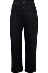 Rick Owens Cropped High Rise Straight Leg Jeans Charcoal