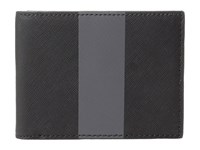 Jack Spade Striped Barrow Leather Slim Billfold Black Magnet Bill Fold Wallet Silver