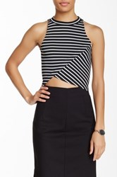 Blvd Striped Crop Sleeveless Tee Black