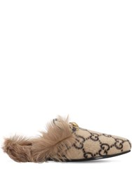 Gucci 10Mm Princetown Wool Mules Beige