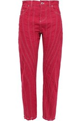 Thierry Mugler Woman Topstitched Frayed Denim Tapered Pants Red