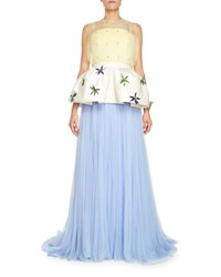 Delpozo Pleated Tulle Gown W Removable Peplum Blue