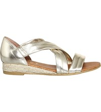 Office Hallie Cross Strap Espradrilles Gold Metallic Leathe