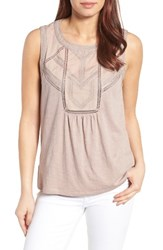 Caslonr Petite Women's Caslon Embroidered Lace Detail Cotton And Modal Tank Grey Bark