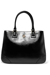 Tory Burch Robinson Large Patent Leather Tote Black