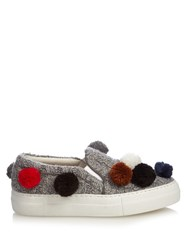 Joshua Sanders Pompom Embellished Knitted Slip On Trainers Grey Multi