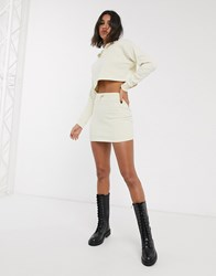 Bershka Co Ord Skirt In Ecru Cream