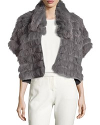 Halston Short Sleeve Cropped Fur Jacket Gray Grey