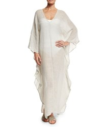Flora Bella Dovecoat Long Linen Caftan Coverup Light Gray