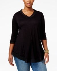 American Rag Trendy Plus Size Floral Print Top Only At Macy's Solid Black