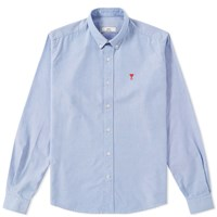 Ami Alexandre Mattiussi Button Down Heart Logo Oxford Shirt Blue
