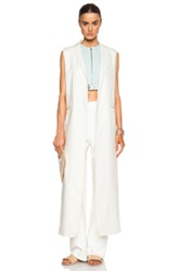 Nomia Washed Linen Long Slit Vest In White