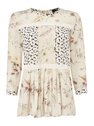 Max Mara Tobia 3 4 Sleeve Silk Blouse With Floral Print Beige