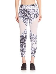 Varley Printed Bodycon Fit Cropped Leggings Blue Python