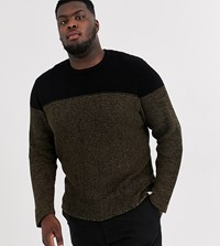 Only And Sons Textured Colour Block Jumper In Black