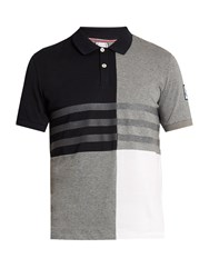 Moncler Gamme Bleu Contrast Panel Cotton Polo Shirt Grey Multi