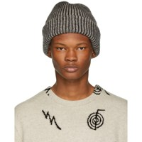 The Elder Statesman Grey And White Stripped Watchman Beanie
