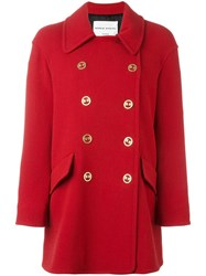 Sonia Rykiel Logo Buttons Double Breasted Coat Red
