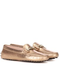 Tod's Gommini Double T Leather Loafers Gold