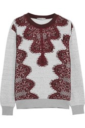 Sandro Tipsy Lace Paneled Cotton Jersey Sweatshirt Gray