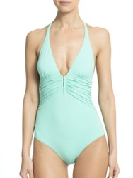 Melissa Odabash One Piece Maua Deep V Swimsuit Mint