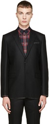 Givenchy Black Raw Flannel Blazer