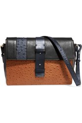 Iris And Ink Smooth And Ostrich Effect Leather Shoulder Bag Blue