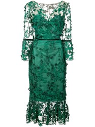 Marchesa Notte Embroidered Midi Tea Dress Green