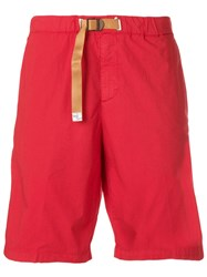 White Sand Belted Straight Leg Shorts Red
