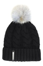 Soia And Kyo Women's Cable Knit Beanie With Genuine Coyote Fur Pom Black